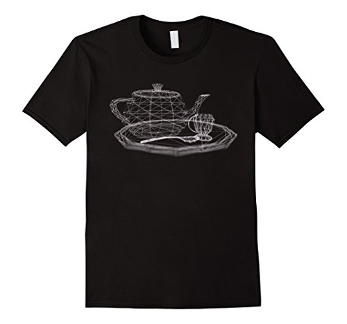3D Wireframe Utah Teapot Tea Set Dark Shirt