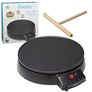 "Crepe Maker and Non-Stick 12"" Griddle- Electric Crepe Pan with Spreader and Recipes Included- Also use for Blintzes, Eggs, Pancakes and More"