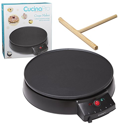 Crepe Maker and Non-Stick 12'' Griddle- Electric Crepe Pan with Spreader and Recipes Included- Also use for Blintzes, Eggs, Pancakes and More by CucinaPro