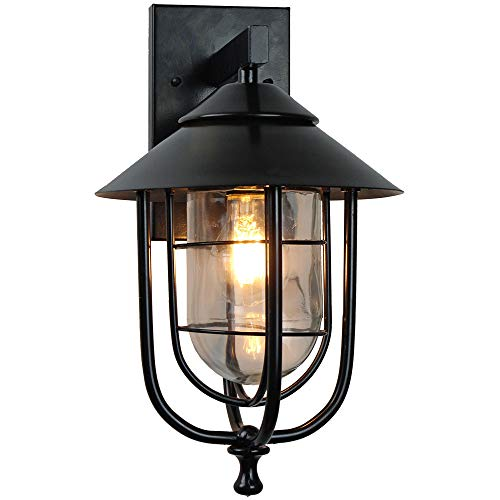 Goodvon Outdoor Wall Mount Sconce One-Light Outdoor Wall Lantern Aluminum Housing Black Finish with Frosted Glass Shade European Style Water-Proof
