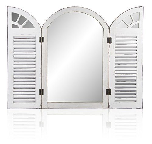 Primrose Reflect Garden Window Mirror with Shutters - Antique-Effect Glass Outdoor Illusion Mirror (2ft 4