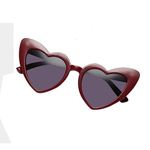 soleil en Aolvo Taille unique Cadre pour rétro femme UV400 mignon HD forme Miroir Lunettes cœur nbsp;Noir fille Plastique de C2 léger de C1 Eyewear 5nwBYqEf