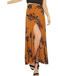 Women's Boho Button Front Floral Print Beach Long Maxi Skirt