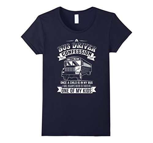 [Women's Bus Driver Shirt - A School Bus Driver Confession XL Navy] (Bus Driver Uniform Costume)