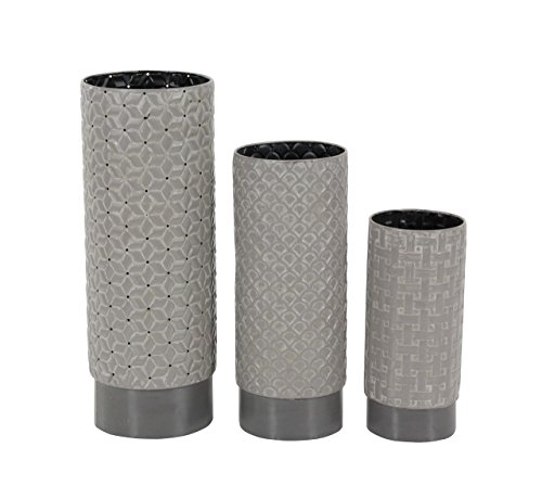 Deco 79 47955 Cylindrical Gray Iron Vases (Set of 3), 10