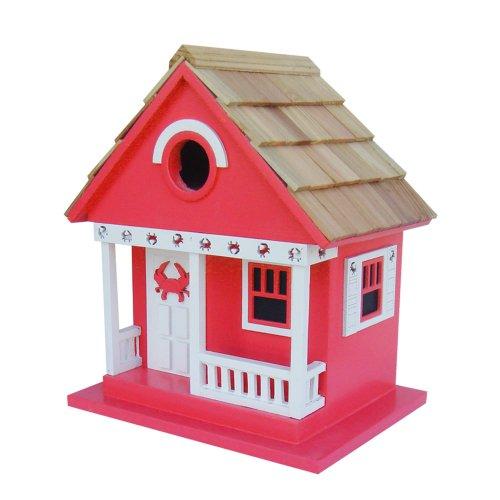 Home Bazaar Crab Cottage Birdhouse, Red
