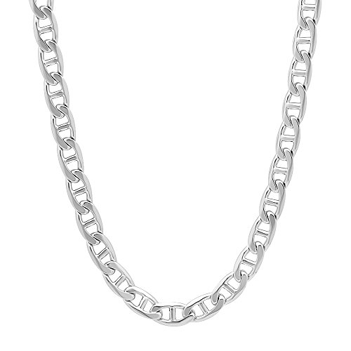 5mm Rhodium Plated Mariner Link Chain Necklace, 22