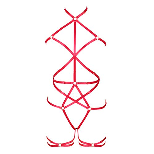 Women's Fashion Lingerie Full Body Harness Caged Garter Belts Set Strappy FrameBralette Punk Gothic Halloween Club Party Dance Rave Wear (Red) ()