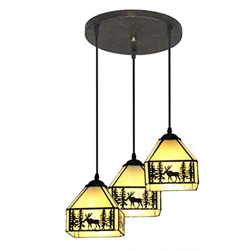 Deer Island Light - 3-Light Chandelier Tiffany Style Stained Glass Ceiling Pendant Fixture Rural Antique Sika Deer Hanging Lamp for Kitchen Island Restaurant Bar Balcony,A