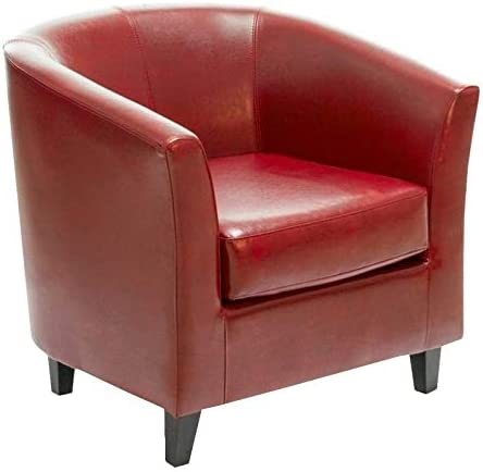 Noble House Histoire Leather Club Chair in Red