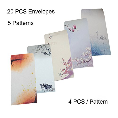 40 Pcs Letter Writing Stationery Paper Letter Set, with 20 Pcs Envelopes, Ink Painting Design Assorted Color (40 Stationeries + 20 Envelopes) by NUIBY (Image #2)