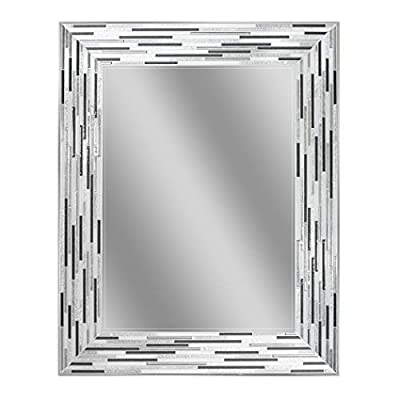 "Headwest Reeded Charcoal Tiles Wall Mirror, 30 inches by 24 inches, 30"" x 24"" - Color scheme of charcoal, warm grays and off white Simulated Tile design compliments many of the newer Tile sizes in today's home Can be hung vertically or horizontally - bathroom-mirrors, bathroom-accessories, bathroom - 41CVdDlNXJL. SS400  -"