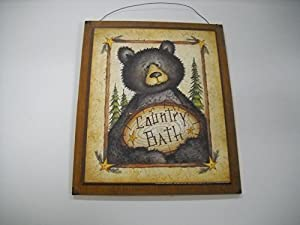 Black Bear Country Bath Wooden Wall Art Sign Lodge Bathroom Outhouse Theme Decor