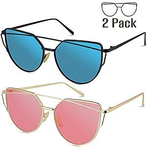 Livhò Sunglasses for Women, 2 Pack Cat Eye Mirrored Flat Lenses Metal Frame Sunglasses UV400