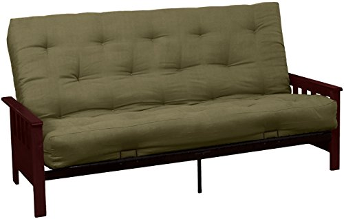 Epic Furnishings Berkeley 10-inch Loft Inner Spring Futon Sofa Sleeper Bed, Full-size, Mahogany Arm Finish, Microfiber Suede Olive Green Upholstery