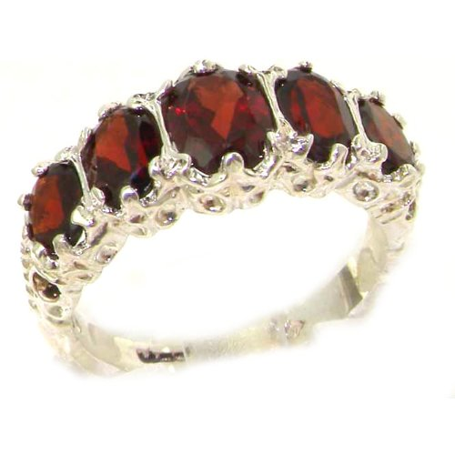 Luxury Ladies Victorian Style Solid Hallmarked Sterling Silver Genuine Garnet Band Ring - Size 5.5 - Finger Sizes 5 to 12 Available - Ideal gift for for Christmas, Birthday, Valentines or Mothers Day