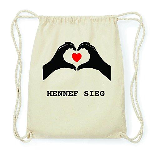 JOllify HENNEF SIEG Hipster Turnbeutel Tasche Rucksack aus Baumwolle - Farbe: natur Design: Hände Herz StxYx
