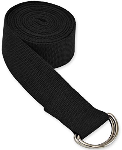 YogaAccessories 8  D-Ring Buckle Cotton Yoga Strap - Black