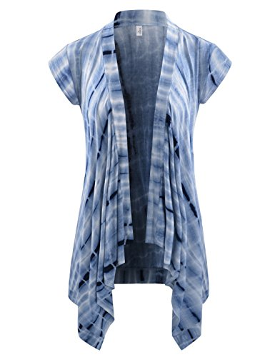 NEARKIN (NKNKWCD692AS Women Open Front Slim Cut Look Short Sleeve Drape Cardigans NAVYWHITE US M(Tag Size L)