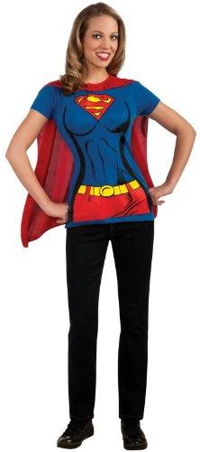 Halloween Costumes Superhero Girl (DC Comics Super-Girl T-Shirt With Cape, Blue, Large Costume)
