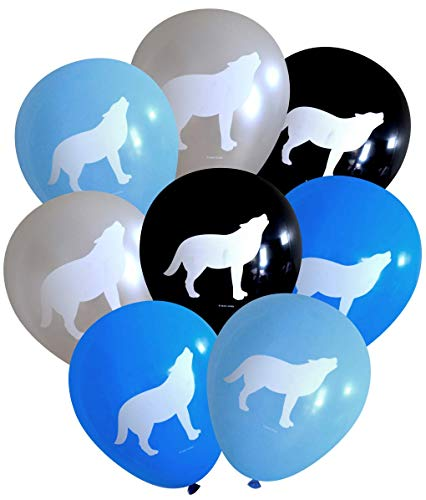 Nerdy Words Wolf Latex Balloons (16 pcs) (Blues, Silver & Black) ()