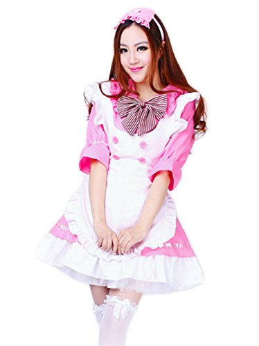 AvaCostume Adult Anime Cosplay French Maid Fancy Dress Costume, L, Pink (Beer Maid Costumes)