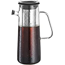 Osaka Glass Cold Brew Coffee Maker with Airtight Seal, 1L / 34oz Pitcher with Removable Stainless Steel Filter, Brew Iced Coffee and Tea Okunion