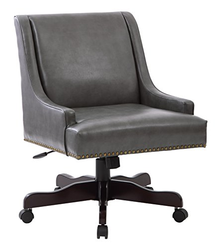 INSPIRED by Bassett Everton Espresso Finish Wood Base Office Chair with Nailhead Accents, Pewter Deluxe Bonded Leather