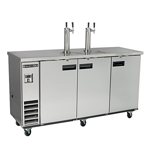Wide Drawer Refrigerated (Maxx Cold MXBD72-2S Commercial Stainless Steel NSF Bar Direct Draw Kegerator Beer Dispenser Cooler with 2 Towers Taps Holds 2 Half 1/2 Size Keg, 73.1 Inch Wide 17.3 Cubic Feet , Silver)