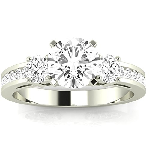1.05 Carat t.w. 14K White Gold Round Channel Set 3 Three Stone Diamond Engagement Ring K VS1-VS2 - 0.45 Ct Tw Round Diamonds