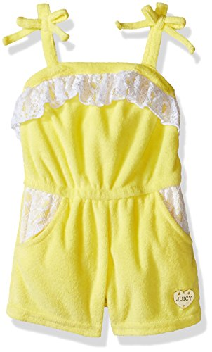 Juicy Couture Little Girls' Romper With Loop Terry Spaghetti Straps, Lemon, 5