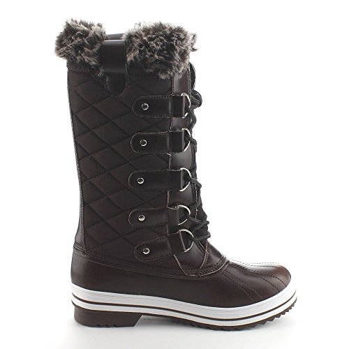 Calf Waterproof Womens Brown 02 Weather Boots Mid Lace Viccino Quilted Refresh Up Snow Wind Da BIv60wqq
