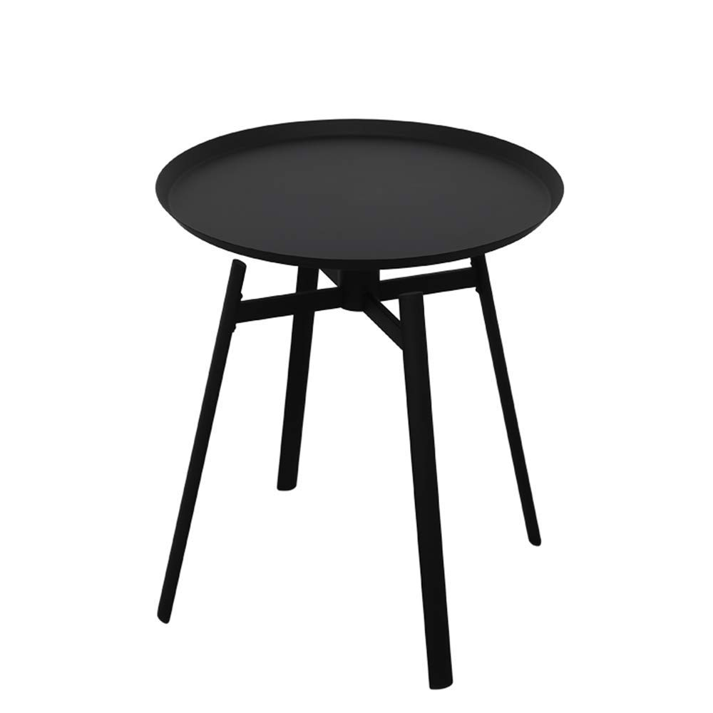 HAIZHEN バルコニー小さなコーヒーテーブル鍛鉄可動テーブル、ブラック(50×55cm)   B07NXTLXVV