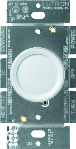 Lutron D-603P-WH Rotary 600-watt 3-Way Dimmer, White -