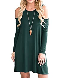 Womens Summer Cold Shoulder Tunic Top Swing T-Shirt Loose Dress with Pockets