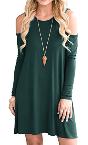 QIXING Women's Long Sleeve Cold Shoulder A-line Flare Casual Midi Dress with Pockets Dark Green-M from QIXING
