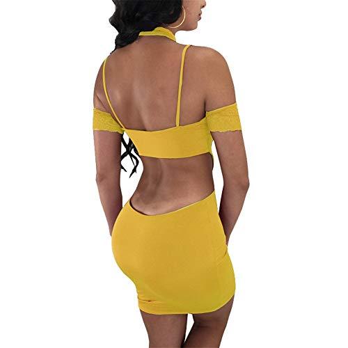 Fashionista Bodycon Elegante Mini Nightclub Ajustados Joven Dress Tirantes Bandage Huixin Skinny De Vestidos Amarillo Encaje Bonita Mujer Fiesta Manga Vestido Corta Retro Hnw4AqT6w