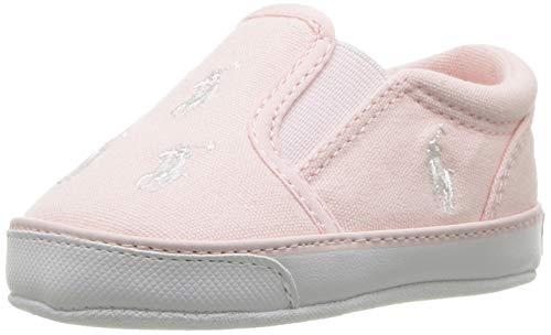 Polo Ralph Lauren Kids Girls' Bal Harbour Repeat Crib Shoe, Light Pink, 1 M US Infant (Shoes Girls Ralph Lauren)