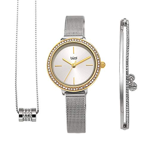 Burgi Women's Jewelry Gift Set - Swarovski Crystal Bezel Watch and Bracelet, Beaded Chain Link Necklace - Flash Plated Gold and Silver - BUR216TTG-S