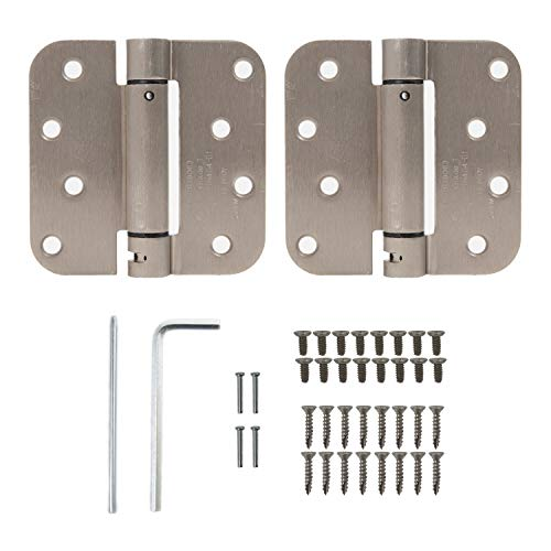 "Houseables Self Closing Door Hinges, Mortise Spring Hinge, 5/8"" Radius Corner, 4"" x 4"", 2 Pack, 2.7 MM, Satin Nickel Finish, Automatic Closer, Adjustable, Tension Loaded, Auto Close Pin, Heavy Duty"