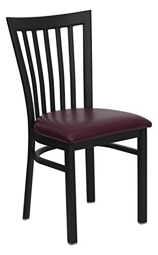 Flash Furniture 2 Pk. HERCULES Series Black School House Back Metal Restaurant Chair – Bur ...