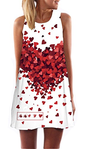 YABINA Women Halter Neck Printed Sleeveless Beach Party Cocktail Dress (US16, Love Heart) (Dresses With Hearts For Women)