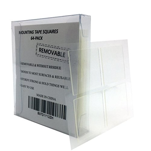 Mounting Tape Squares Double Sided Adhesive, Removable & Without Residue, Heavy Duty Pre Cut Clear 1-inch x 1-inch with (Removable Foam Mounting Squares)