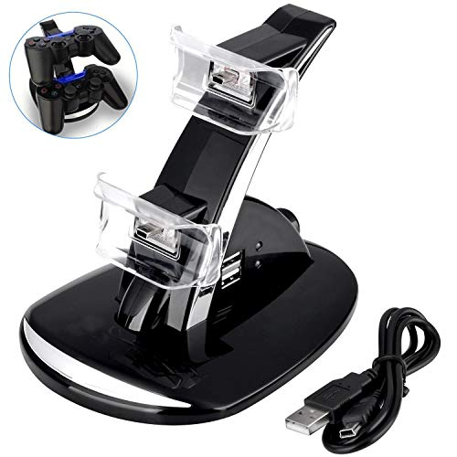 (PS3 Controller Charger, Dual USB PS3 Controller Charging Station for Sony Playstation 3 / PS3 Slim / PS3 Controller Charging Dock Stand Station Compatible with PS3)