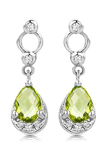 ByJoy Earrings for Women Sterling Silver dangle Peridot 925 Silver wycbuLkJG