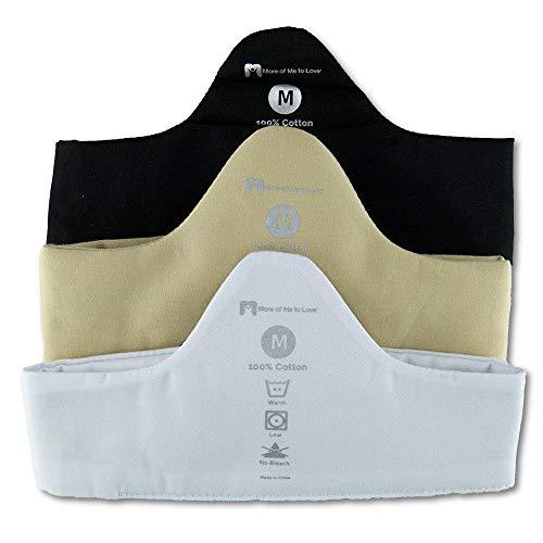 Sweat Wicking 100% Cotton Bra Liner 3-Pack (Black, White, Beige - XXL)