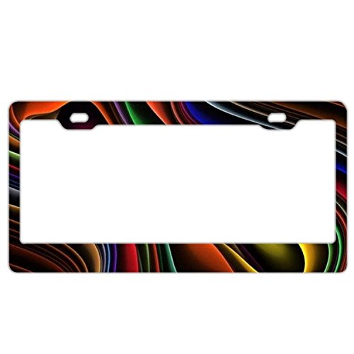 YEX Abstract Tie Dye Line License Plate Frame Car Tag Frame Auto License Plate Holder 12