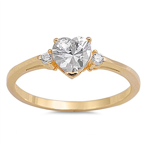 Oxford Diamond Co Yellow Gold Plated with Cubic Zirconia Heart .925 Sterling Silver Ring Size 8
