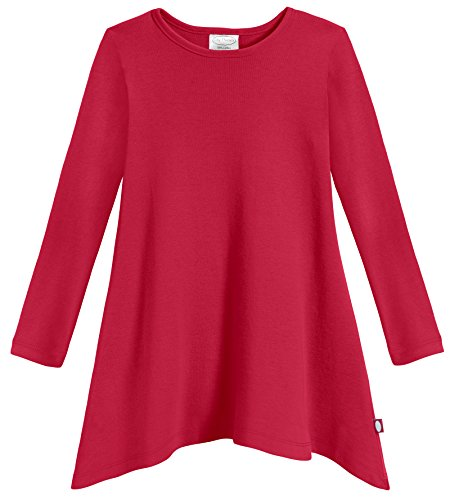 City Threads Sharkbite Shark Bite Girls Long Sleeve Tshirt Dress - Casual Everyday Cute Top Tunic Blouse Soft Natural Cotton Perfect for Sensitive Skin SPD Sensory Friendly, Candy Apple Red, 8