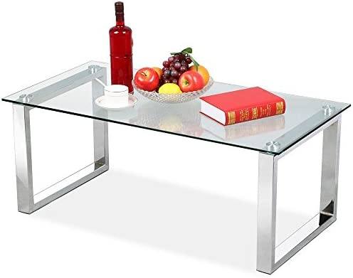 Topeakmart Modern Design Cocktail Coffee Table Tempered Glass Top with Chrome Finish Legs Living Room Furniture